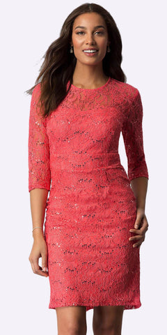 Coral Knee-Length Wedding Guest Dress Mid-Length Sleeve