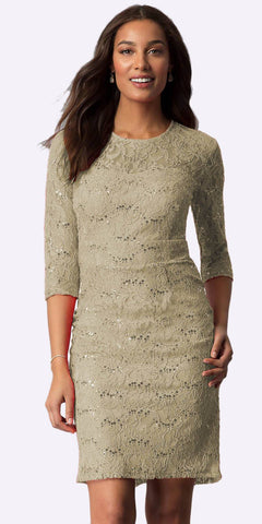 Khaki Knee-Length Wedding Guest Dress Mid-Length Sleeve