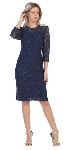 Navy Blue Knee-Length Wedding Guest Dress Mid-Length Sleeve