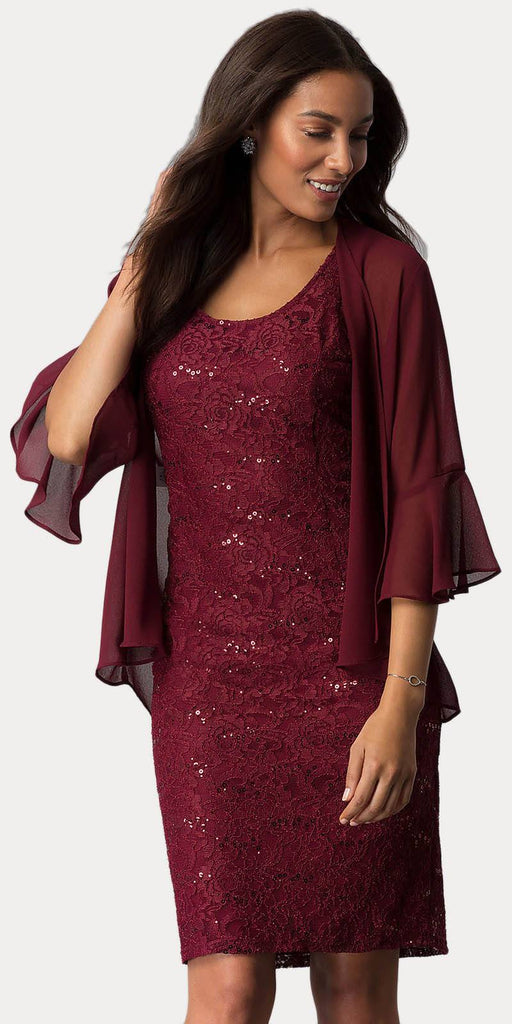 Sally Fashion 8855 Burgundy Short Wedding Guest Dress with Chiffon Bolero Jacket