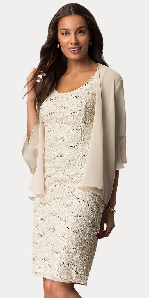Sally Fashion 8855 Khaki Short Wedding Guest Dress with Chiffon Bolero Jacket