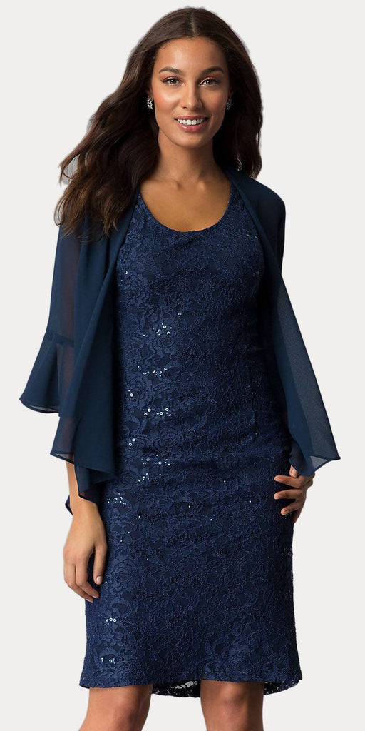 Sally Fashion 8855 Navy Blue Short Wedding Guest Dress with Chiffon Bolero Jacket