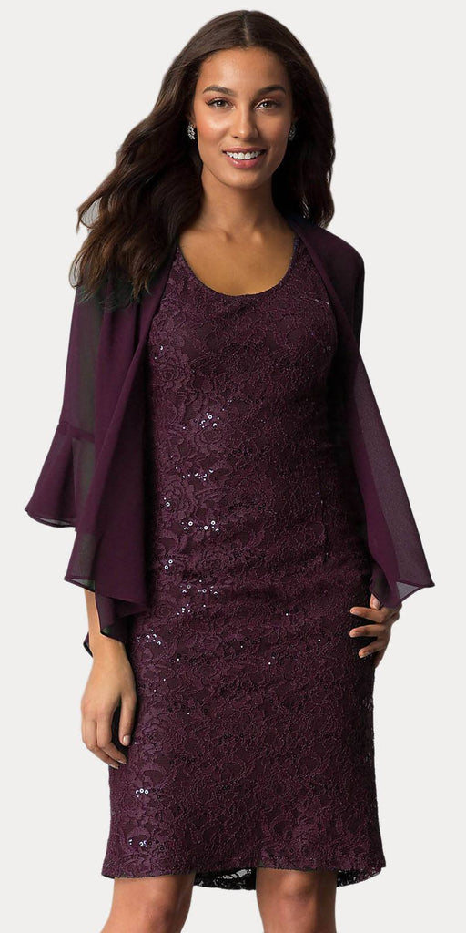 Sally Fashion 8855 Plum Short Wedding Guest Dress with Chiffon Bolero Jacket