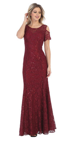 Lace Long Formal Dress with Cold-Shoulder Burgundy