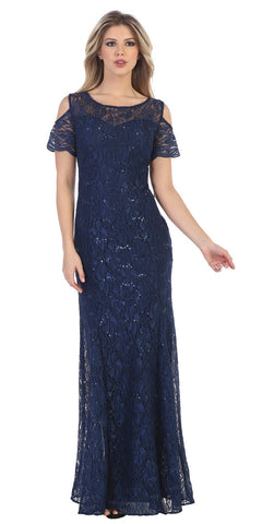 Lace Long Formal Dress with Cold-Shoulder Navy Blue