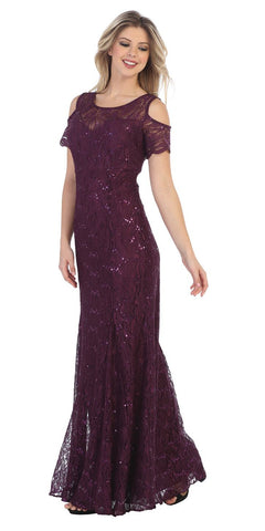 Lace Long Formal Dress with Cold-Shoulder Plum