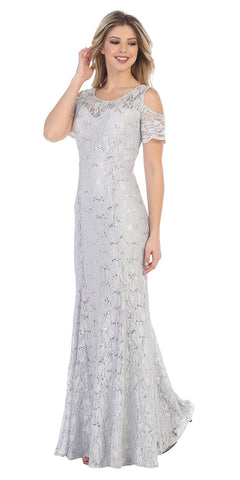Lace Long Formal Dress with Cold-Shoulder Silver