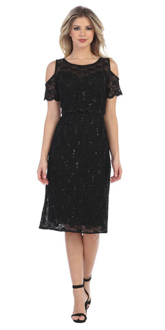 Lace Knee-Length Wedding Guest Dress Cold-Shoulder Black