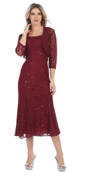Sally fashion 8863 burgundy tea length semi formal dress for Tea length wedding dress with bolero jacket