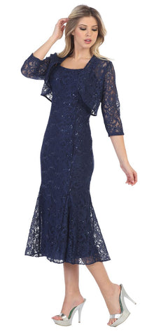 Navy Blue Tea-Length Semi-Formal Dress with Lace Bolero Jacket