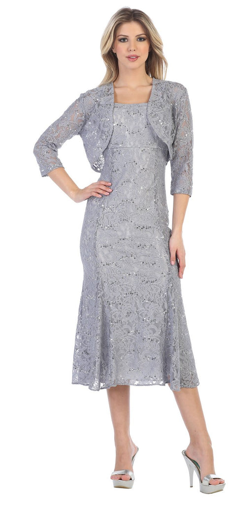 Silver Tea-Length Semi-Formal Dress with Lace Bolero Jacket
