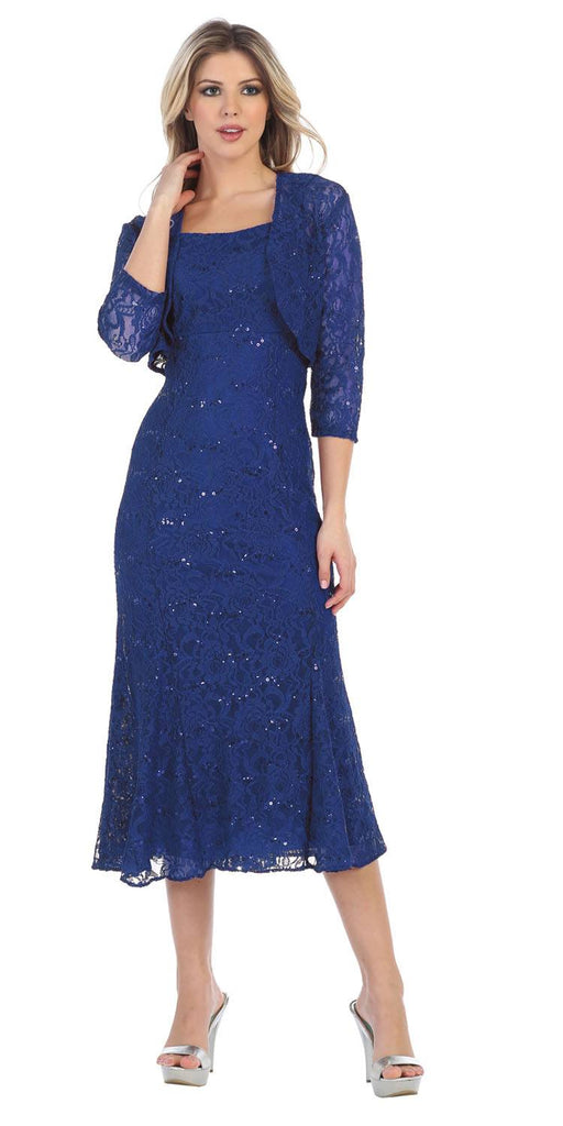 Royal Blue Tea-Length Semi-Formal Dress with Lace Bolero Jacket