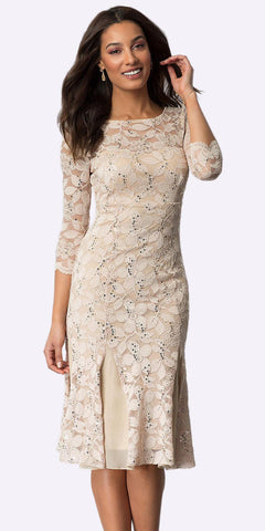 Khaki Mid-Sleeved Lace Wedding Guest Dress Tea-Length