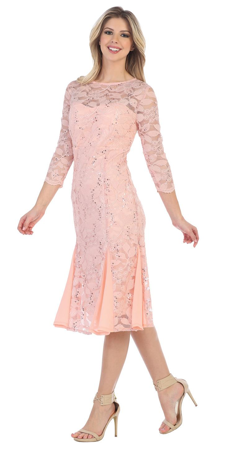 Sally fashion 8864 peach mid sleeved lace wedding guest for Mid length dresses for wedding guests