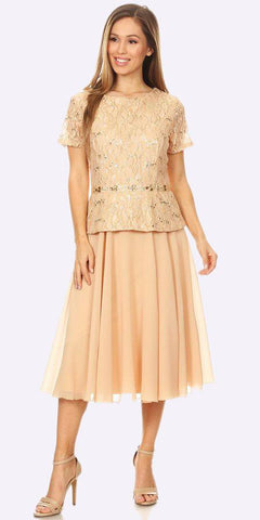 Tea-Length Chiffon Skirt A-Line Cocktail Dress Short Sleeve Gold