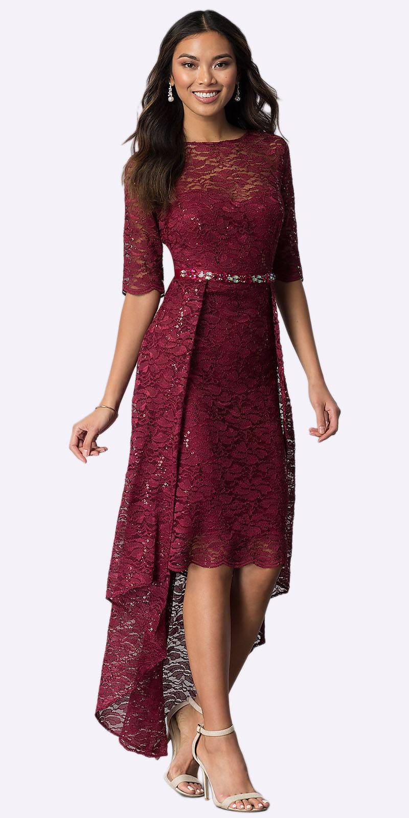 b9f19bd200 Burgundy High-Low Semi-Formal Dress with Mid-Length Sleeves. Tap to expand