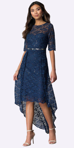 Navy Blue High-Low Semi-Formal Dress with Mid-Length Sleeves