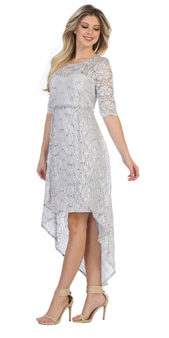 Silver High-Low Semi-Formal Dress with Mid-Length Sleeves