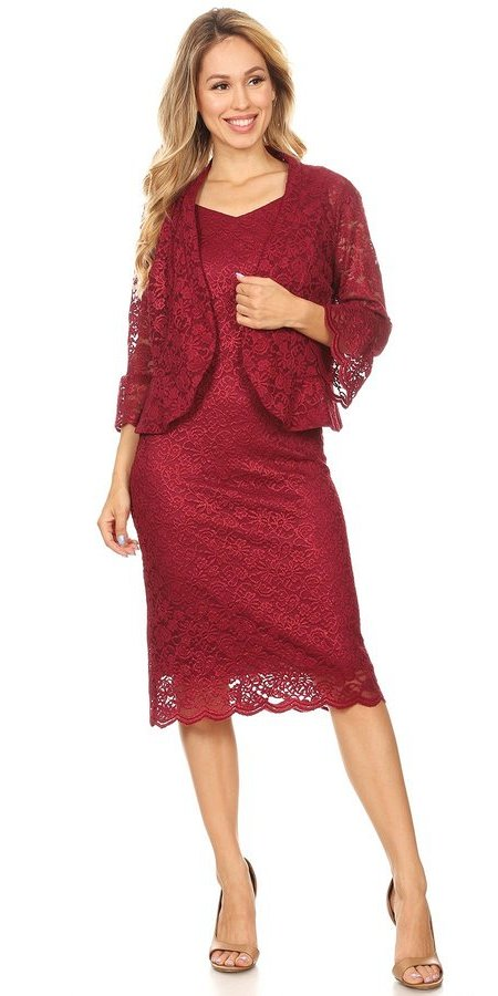V-Neck Burgundy Mother of Bride or Groom Dress with Jacket