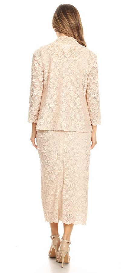 Tea-Length Khaki Lace Formal Dress with Long Sleeve Bolero