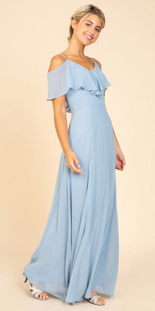 Fashion Eureka 8877 Ruffled Cold-Shoulder Long Bridesmaids Dress Dusty Blue