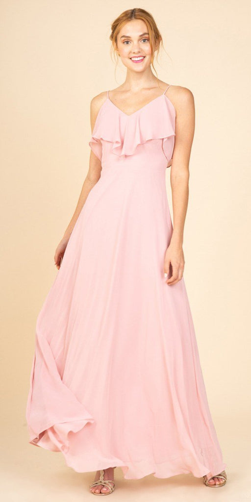 Fashion Eureka 8877 Ruffled Cold-Shoulder Long Bridesmaids Dress Dusty Rose