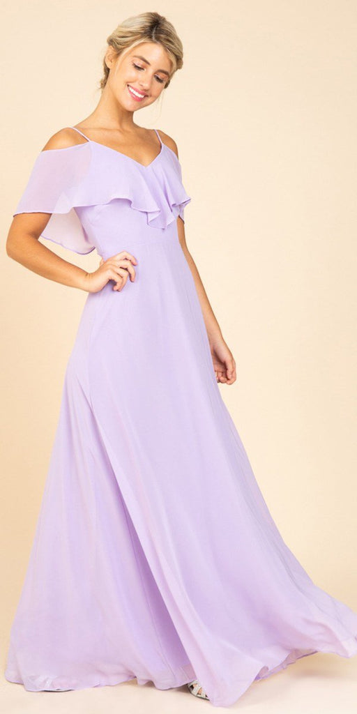 Fashion Eureka 8877 Ruffled Cold-Shoulder Long Bridesmaids Dress Lilac