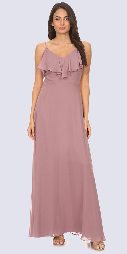 Fashion Eureka 8877 Ruffled Cold-Shoulder Long Bridesmaids Dress Mauve