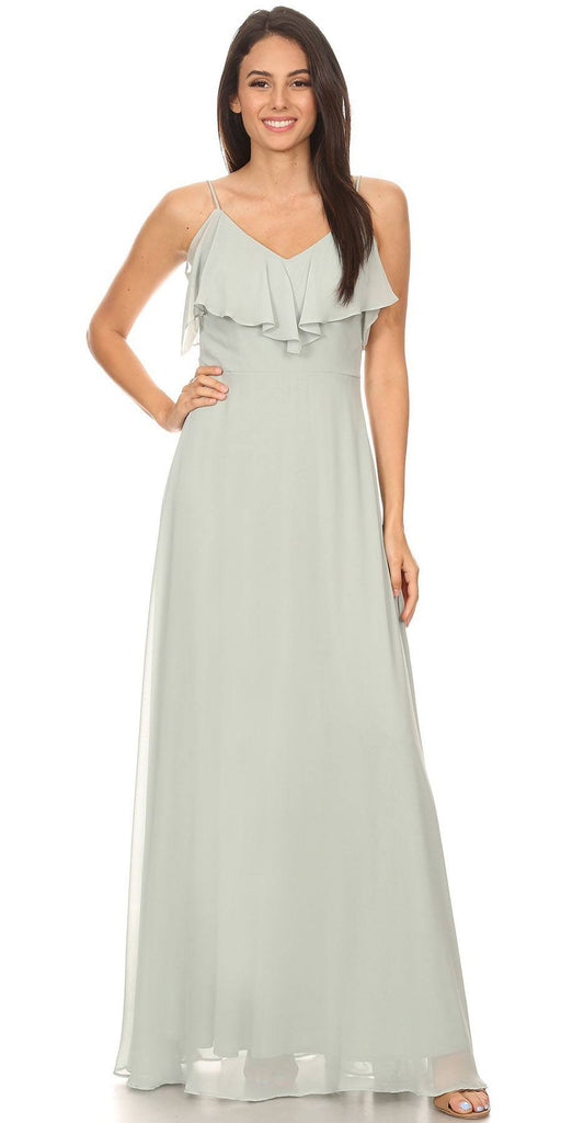 Fashion Eureka 8877 Ruffled Cold-Shoulder Long Bridesmaids Dress Sage Green