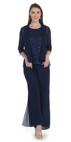 Sally Fashion 8844 Navy  Pant Set Includes Jacket and Top