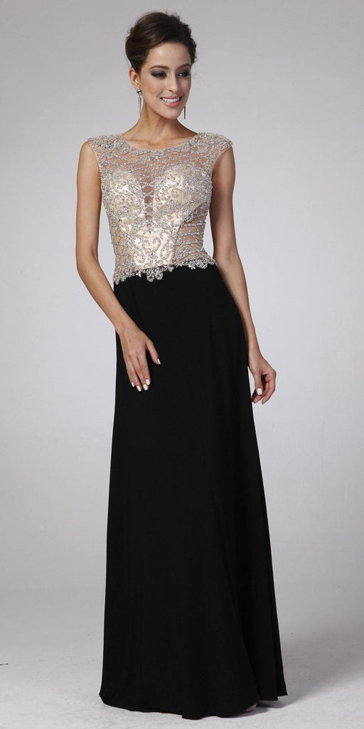 Cinderella Divine 8907 Beaded Sheer Bodice Illusion Cap Sleeves Floor Length Prom Gown Black
