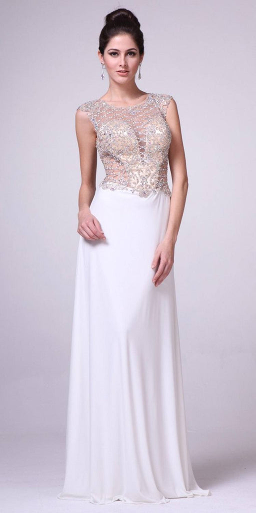 Cinderella Divine 8907 Beaded Sheer Bodice Illusion Cap Sleeves Floor Length Prom Gown Cream