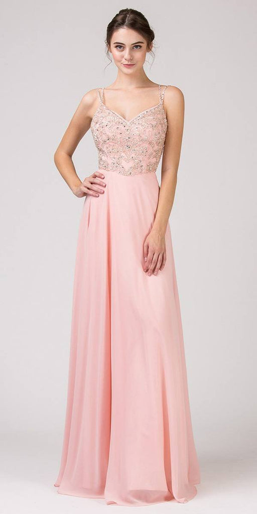 Doubled-Straps Dusty Pink Beaded Long Prom Dress