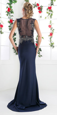 Navy Blue Sleeveless Long Prom Dress Appliqued Bodice