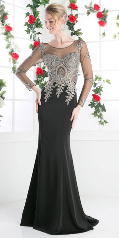 Long Sleeves Mermaid Prom Gown Appliqued Bodice Black