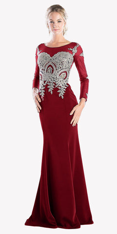 Long Sleeves Mermaid Prom Gown Appliqued Bodice Burgundy