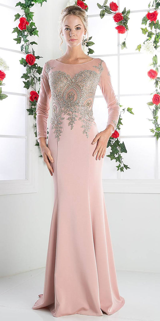 Long Sleeves Mermaid Prom Gown Appliqued Bodice Dusty Rose