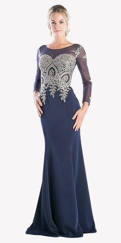 Long Sleeves Mermaid Prom Gown Appliqued Bodice Navy Blue