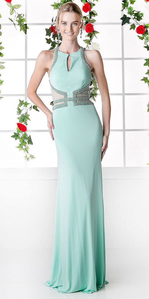 Cinderella Divine 8929 Halter Sheer Cut Out Waist Mint Full Length Column Evening Gown