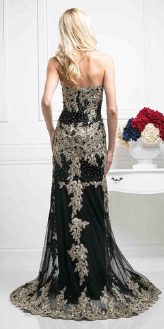 Cinderella Divine 8930 Black Formal Strapless Long Evening Dress Golden Applique