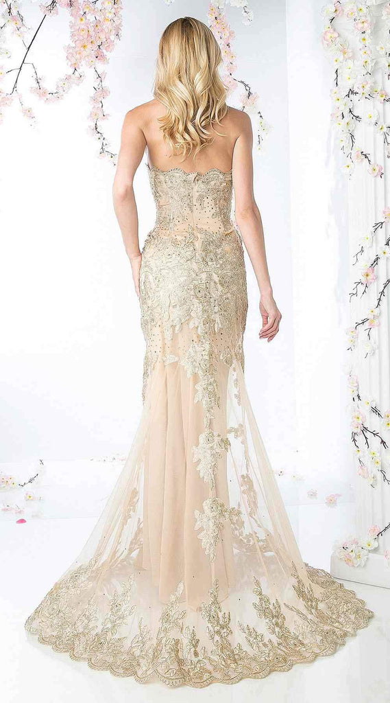 Cinderella Divine 8930 Gold Formal Strapless Long Evening Dress Golden Applique