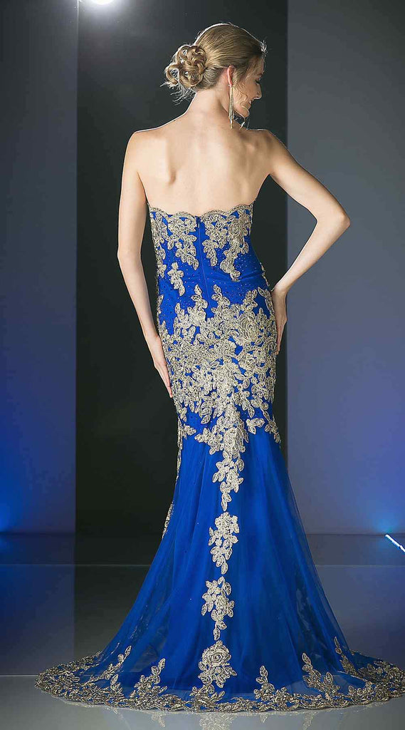 Cinderella Divine 8930 Royal Blue Formal Strapless Long Evening Dress Golden Applique