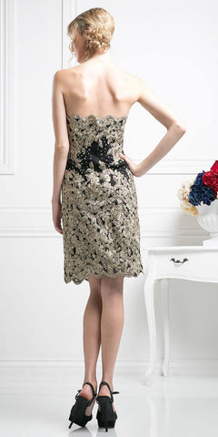 Cinderella Divine 8931 Strapless Floral Applique Above Knee Cocktail Dress Black