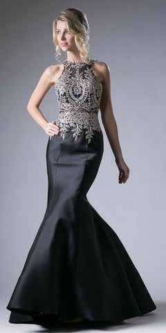 Cinderella Divine 8934 Embroidered Bodice Mermaid Prom Gown Cut Out Back Black