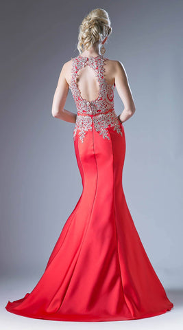 Cinderella Divine 8934 Embroidered Bodice Mermaid Prom Gown Cut Out Back Red