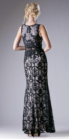 Lace Applique Mermaid Long Formal Dress Sleeveless Black