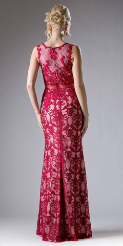 Lace Applique Mermaid Long Formal Dress Sleeveless Burgundy