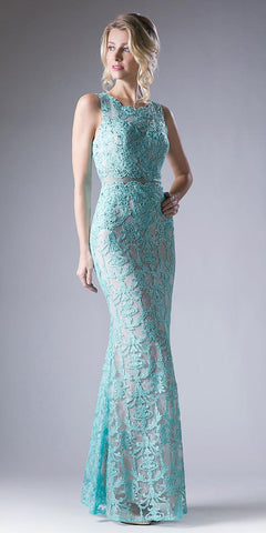 Lace Applique Mermaid Long Formal Dress Sleeveless Mint