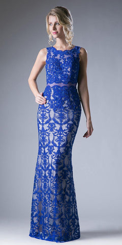 Lace Applique Mermaid Long Formal Dress Sleeveless Royal Blue