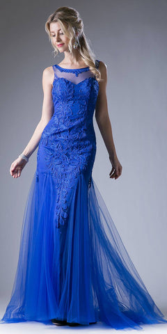 Illusion Sweetheart Neckline Cut Out Back Long Prom Dress Royal Blue